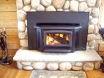 Wood-burning fireplace with efficient insert/blower; firewood provided!