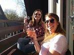 Enjoying evening drinks on the balcony
