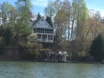 255 Jumping Branch overlooking the lake with nice lot privacy, 200' of shoreline, large covered dock