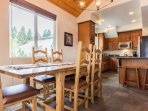 Dining Table for 6 and 2 bar Stools at Kitchen Counter