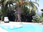The private pool of the villa is 12 metres long and 5 metres large, 2 metres depth.