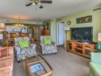 There is plenty of space for you and your group to sit and chat or to watch a movie on the flat-screen cable TV.