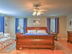 The master bedroom features a comfortable king-sized bed.