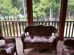 Screened porch living area