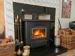 Projector Room with cosy multi fuel stove. Please help yourself to our stock of dried logs
