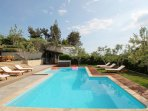 Fully equipped summer kitchen with toilet, jacuzzi, pool all private