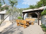 Natural surrounding next to pool and barbecue area