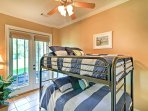 Kids will love staying in this room with full-over-full bunk beds.