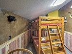 Twin-over-twin bunk beds are available in the bunk room.