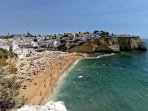 View of the Praia do Carvoeiro from a nearby viewpoint