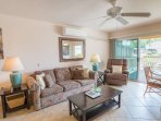 Comfortable Den with a Ceiling Fan drawing in the Ocean Breezes