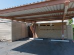 Private 2-car covered carport parking for all guests. Guests may also enter from the back patio.