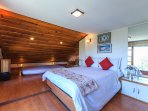 The attic room with wooden floors and the sloping ceiling is a hot favourite amongst kids