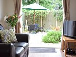 French doors into enclosed garden