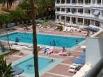 View from the balcony of the pools, tennis courts and sun bathing area. lovely.