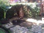Parte del jardìn. fuente donde pasa agua del arroyo.  Está junto al asador.