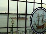 Steamship on river