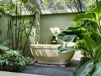 Bathroom beautifully set within the tropical nature