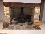 Inglenook fireplace with logburner