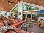 Large picture windows with mountain views from the kitchen, dining and living room.