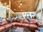 Ample seating with this plush leather sofa.