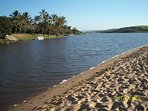 The Zinkwazi river opens into the sea at the main beach. Water sport and boating is popular and safe
