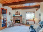 Brick fireplace in the living room.
