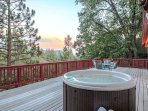Deck with spa and beautiful views.