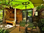 Chalet private patio with gas grill. Special times for special meals.. also slider or swing.