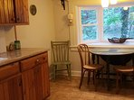 Rustic kitchen with seating for 6.
