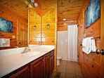 Shared Downstairs Tub/Shower Bath Combo with Access from Hall and Master Bedroom