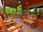 Lots of Room to Relax on the Wrap Around Porch at Kozy Lodge!  Porch Swing and Rockers are inviting after a long day...