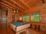 Enjoy a Game of Pool in the Game Room at Kozy Lodge