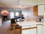 Kitchen, dining area and living room provide a great space. You don't have to miss a thing while preparing a meal ...
