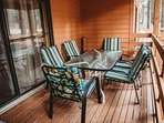 Enjoy the sounds of nature that Wisconsin offers on this outdoor patio.