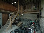 small barn toy room bikes, table tennis and darts