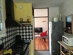Kitchen- from balcony towards livingroom.