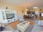 Relax after a an Amazing Day at The Beach in this Spacious Living Room with Flat Screen TV, Queen Sleeper Sofa, and...