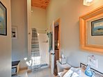 The full bathroom comes complete with a walk-in shower.