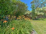 Stroll through the yard and keep your eyes peeled for fruit trees, flowers and animals.
