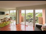 Large windows provide beautiful natural lightning and views of the surrounding Miami area.