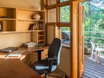 Get any of your last-minute work done in this private office area.