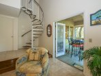 Spiral Staircase to second floor loft.  French doors to deck with beautiful view of George Fazio!