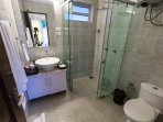 Bathroom attached to the ground floor the second bedroom with shower cubicle and free amenities