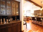A wet bar just off the dining area