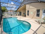 South facing pool with relaxing spa.  Dining options under the covered patio