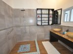 Bathroom 6 upstairs, large shower area and double vanity basin for 'his' and 'hers'.