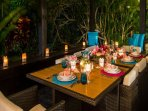 Outdoor dining and service from your own chef and butler service!