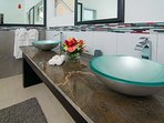 Modern bathrooms at Dreamtime Villa, all with double vanity basins!