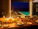 Dining indoors with views to the ocean!